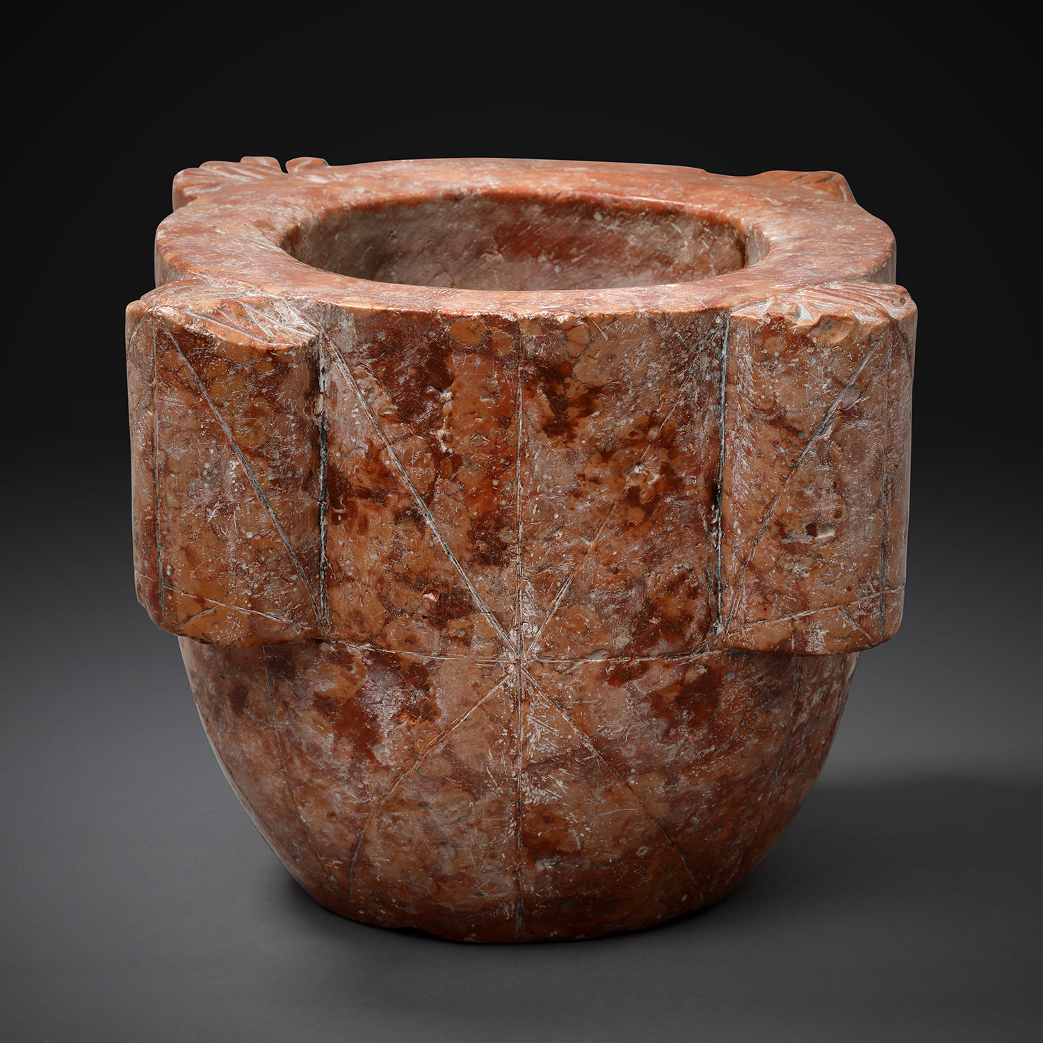 Large Red Marble Mortar