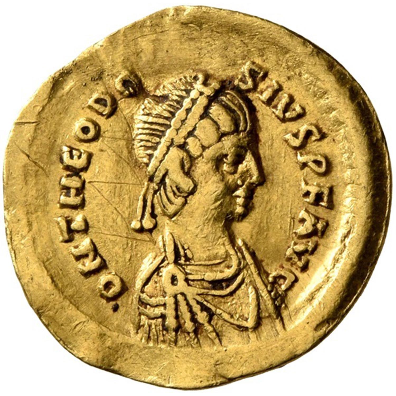 THEODOSIUS II (402-450), GOLD TREMISSIS, CONSTANTINOPOLIS