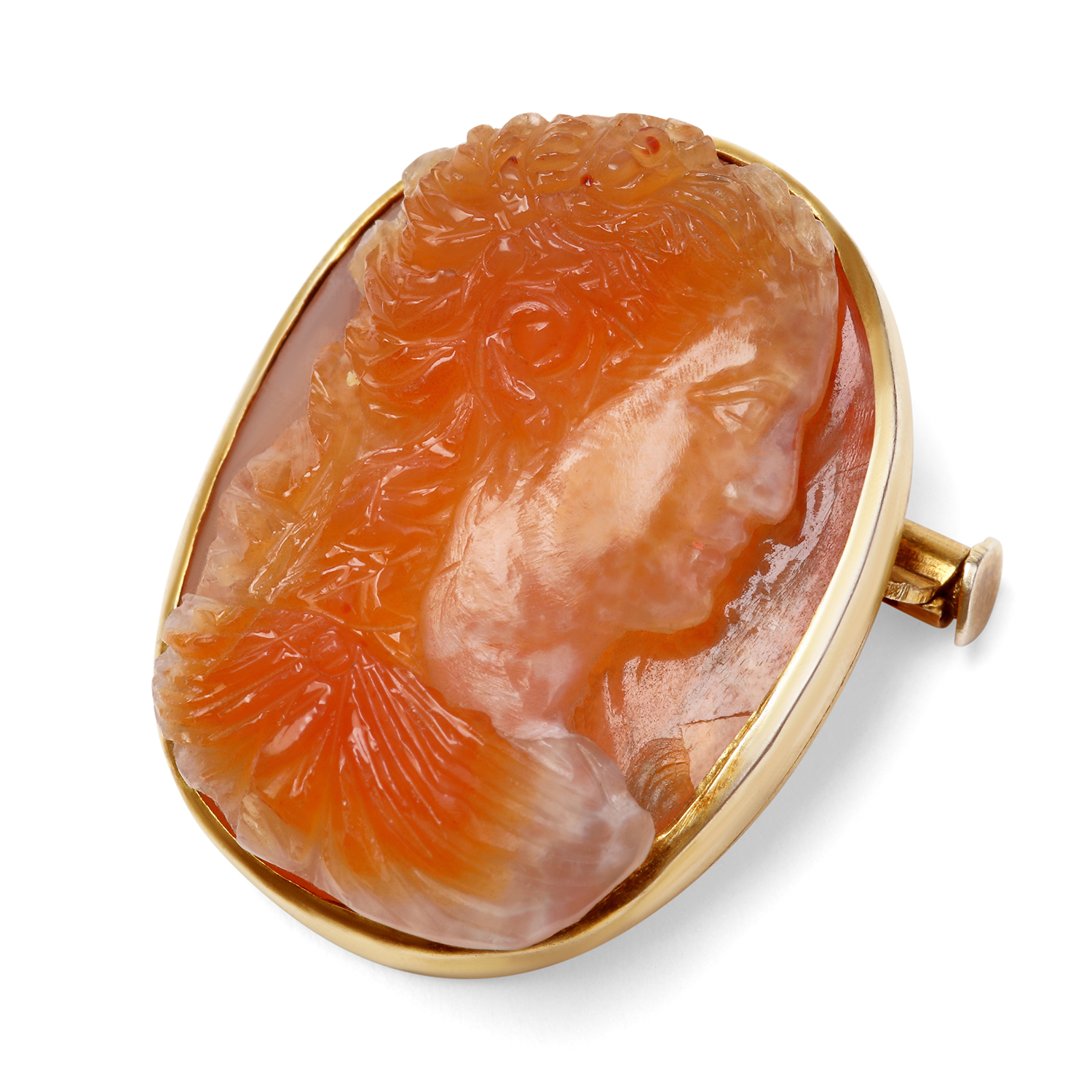 ANTIQUE REVIVAL AGATE CAMEO BROOCH