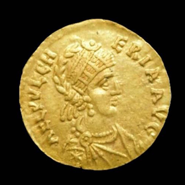 GOLDEN TREMISSIS AELIA PULCHERIA. AUGUSTA, AD 414-453